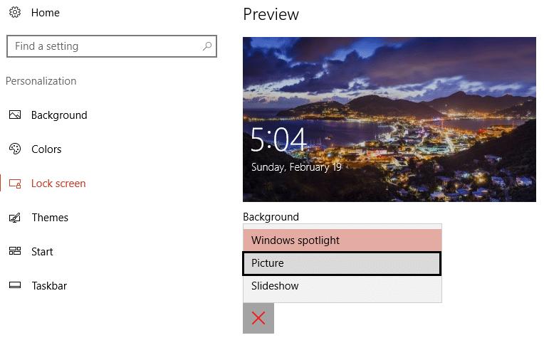choose picture instead of Windows spotlight