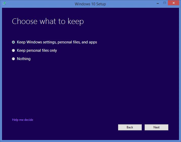 choose what to keep windows 10