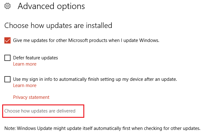 click on choose how updates are delivered