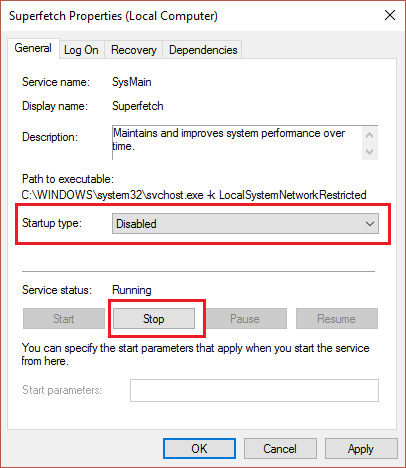 click stop then set startup type to disabled in superfetch properties