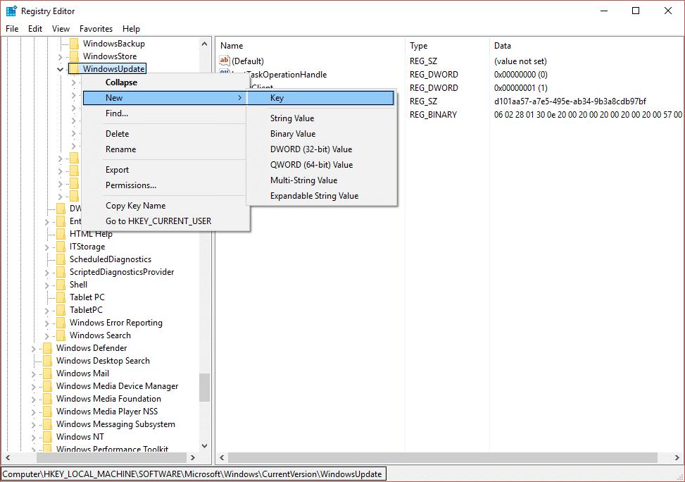 create a new key OSUpgrade in WindowsUpdate