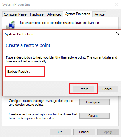 create a restore point for backup registry