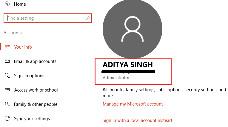 find your email address from your account info settings | Enable or Disable Administrator Account in Windows 10