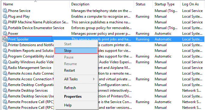 print spooler service stop
