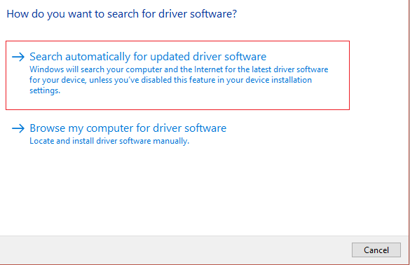search automatically for updated driver software | Fix New Hard Drive not showing up in Disk Management