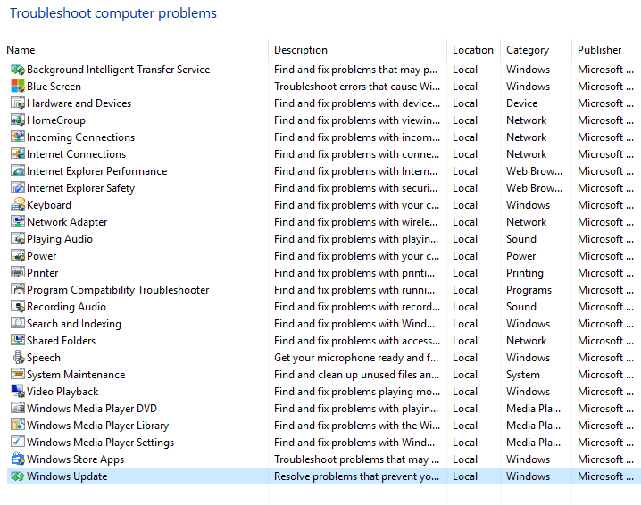 select windows update from troubleshoot computer problems
