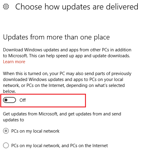 turn off update from more than one place