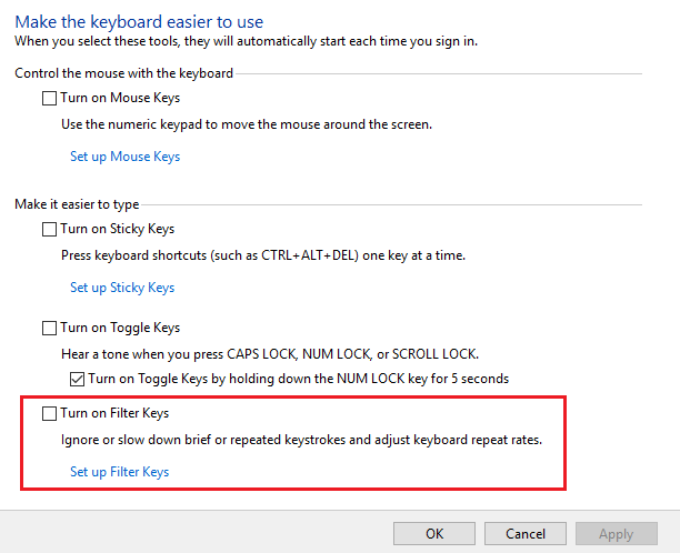 uncheck turn on filter keys