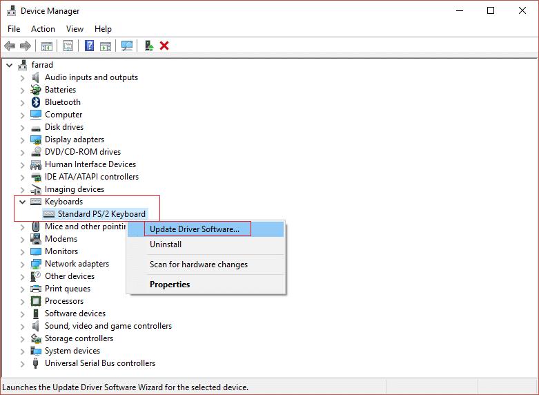update driver software standard PS2 Keyboard