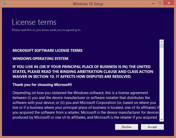 accept windows 10 license agreement