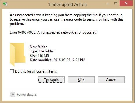 Fix An unexpected network error occurred 0x8007003B