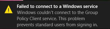 How to fix failed to connect to Windows service