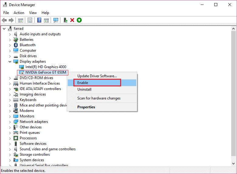 right-click on your Nvidia Graphic Card and select Enable