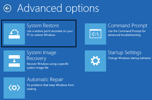 select System Restore from command prompt