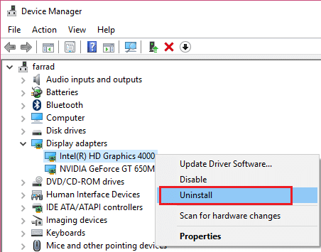 uninstall drivers for Intel Graphic Card 4000