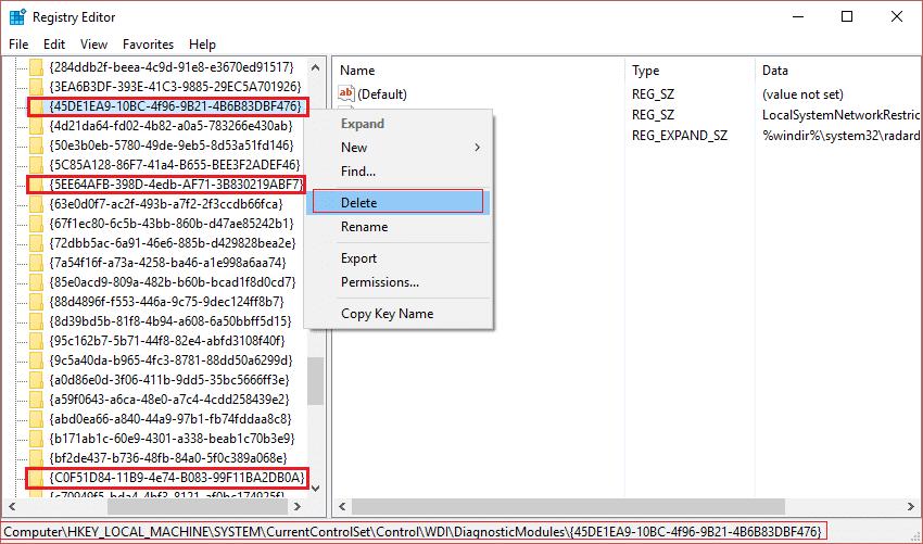 Delete Diagnostics service registry key to disable memory warnings