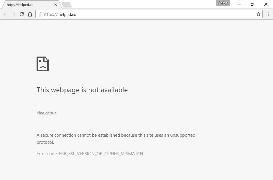 Fix ERR_SSL_VERSION_OR_CIPHER_MISMATCH Chrome Error