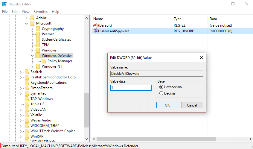 change value of disableantispyware to 1 in order to disable windows defender