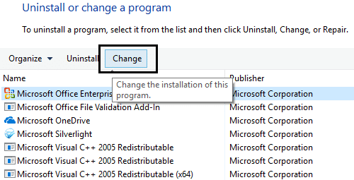 click change on microsoft office 365