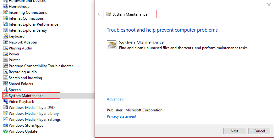 run system maintenance troubleshooter