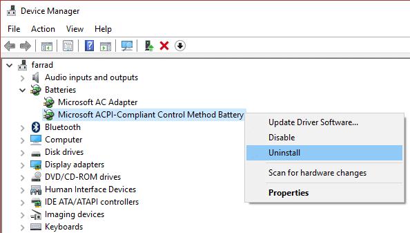 uninstall Microsoft ACPI Compliant Control Method Battery