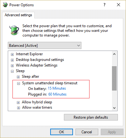 Change System unattended sleep timeout
