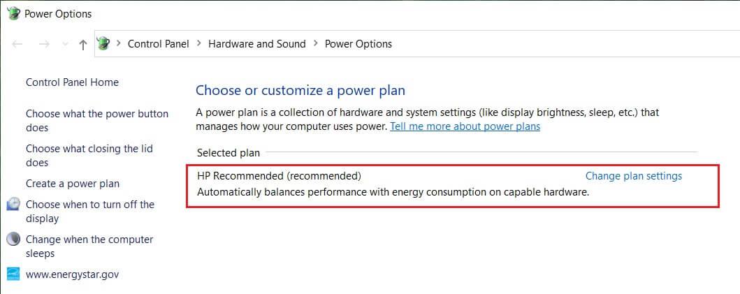 Click Change plan settingsunder your chosen power plan