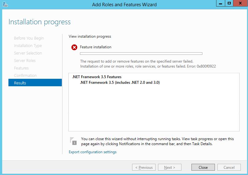 Fix .Net Framework 3.5 installation error code 0x800f0922
