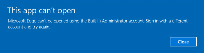 Fix App can't open using Built-in Administrator Account