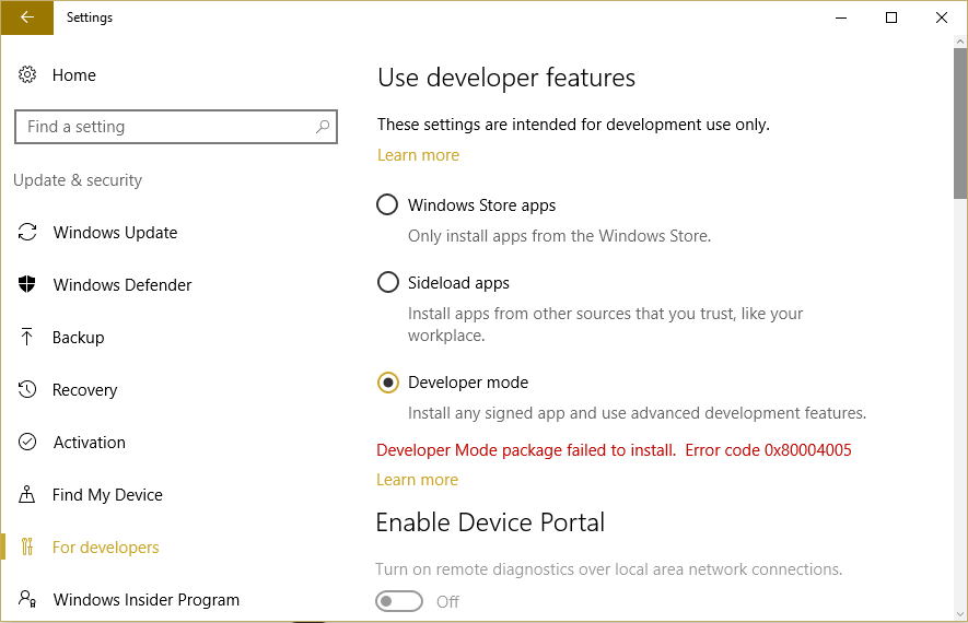 Fix Developer Mode package failed to install Error code 0x80004005