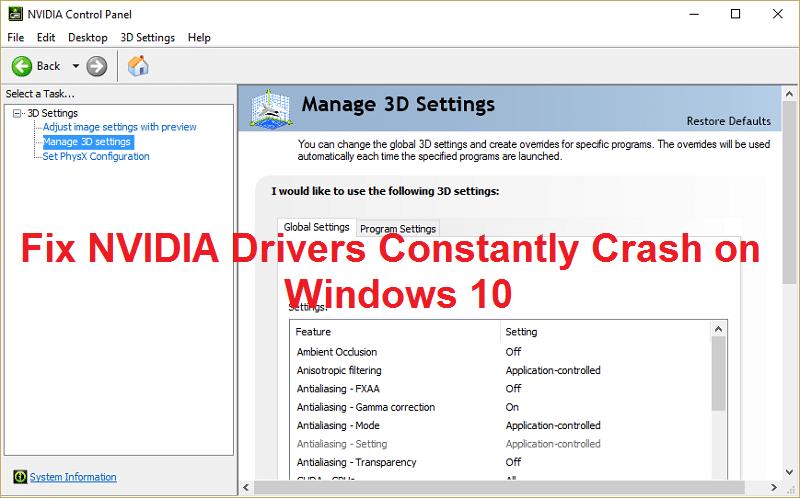 Fix NVIDIA Drivers Constantly Crash on Windows 10