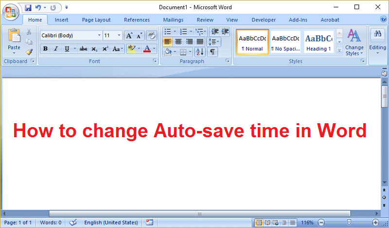 How to change Auto-save time in Word