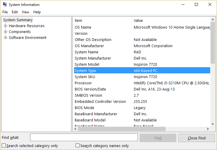 In system information look for system type