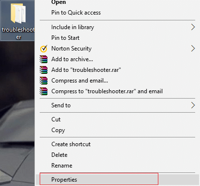 Right-click on the folder and select Properties