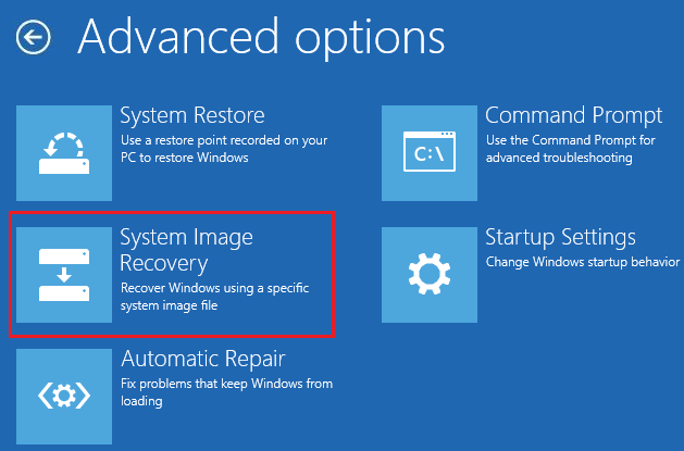 Select System Image Recovery on Advanced option screen