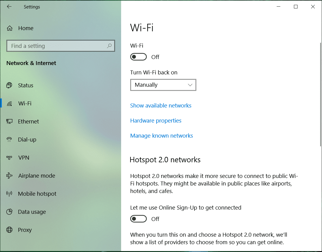 Select Wi-Fi and Disable everything under Wi-Fi Sense in the right window