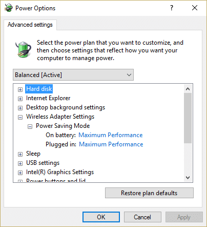 Set On battery and Plugged in option to Maximum Performance