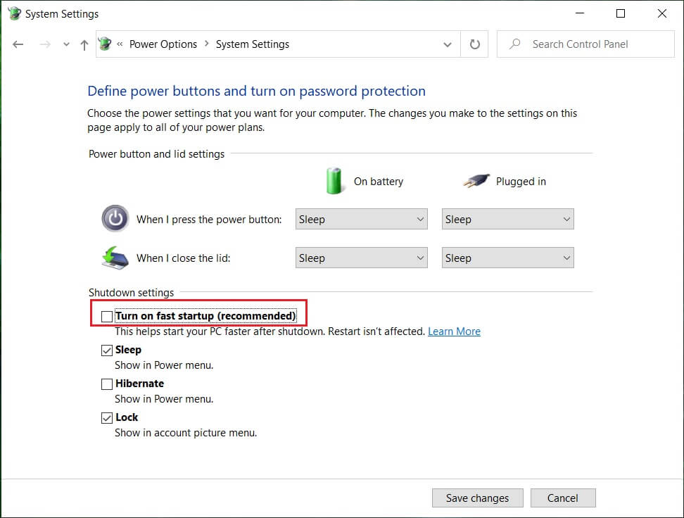 Uncheck Turn on Fast startup under Shutdown settings