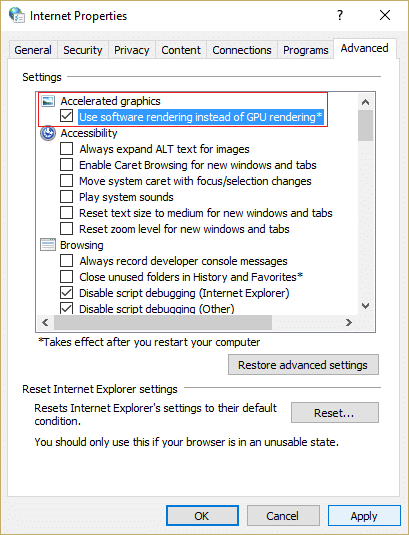 Uncheck use software rendering instead of GPU rendering to disable Hardware Acceleration