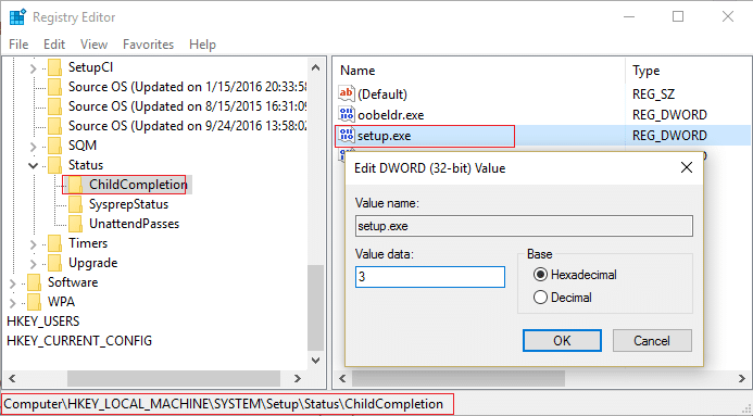 change the value of setup.exe under ChildCompletion from 1 to 3