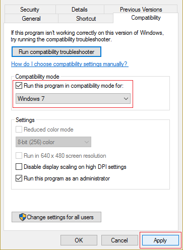 check Run this program in compatibility mode for and select Windows 7