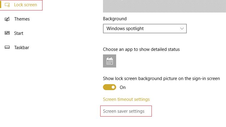 choose lock screen then click Screen saver settings