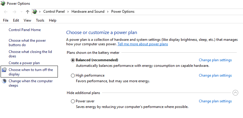 click Choose when to turn off the display