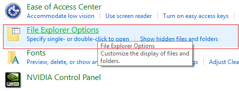 click File Explorer Options from Appearance & Personalization in Control Panel