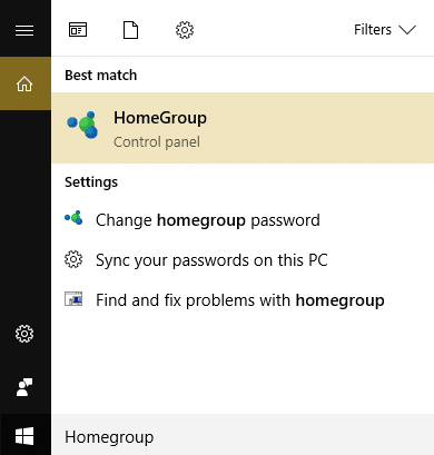 click HomeGroup in Windows Search