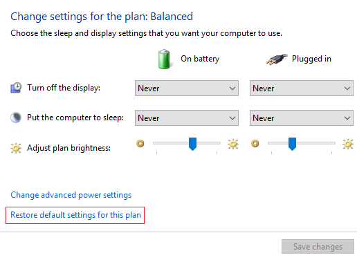 click Restore default settings for this plan