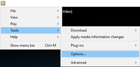 click Tools then select Options in WMP