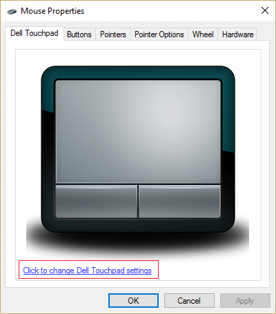 click to change Dell Touchpad settings