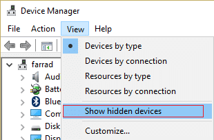 click view then show hidden devices in Device Manager