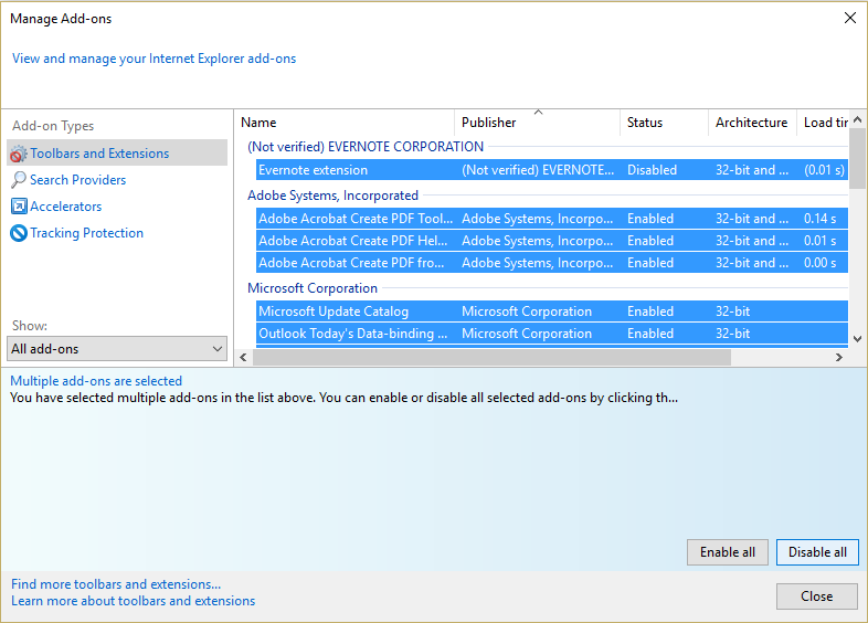disable all Internet Explorer add-ons